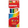 """KORES Színes ceruza készlet, háromszögletű, KORES """"Triangular"""", 12 különböző szín"""