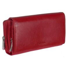 La Scala Fedeles, cipzáros aprós, hátul kártyatartós piros virágos bőr pénztárca La Scala