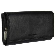 La Scala Fedeles, cipzáros aprós + kártyatartós fekete bőr pénztárca La Scala