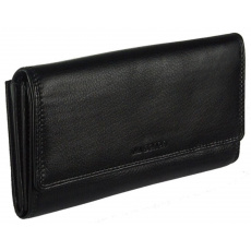 La Scala Hátul kártyatartós, cipzáros aprós fekete bőr pénztárca La Scala