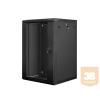 Lanberg 19'' fali rack szekrény 18U 600x600mm fekete (üvegajtó)