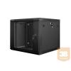 Lanberg 19'' fali rack szekrény 9U 600x600mm fekete (üvegajtó)