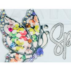 Lányka pillangós gyöngyös rövid ujjú póló #fehér (méret:128-164)