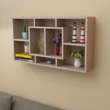 Lebegő 8 fülkés fali polc tölgy szín bútor
