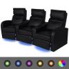 LED 3 személyes műbőr dönthető támlájú fotel fekete
