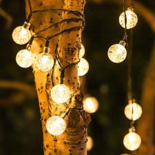LED kristálygömb égősor, napelemes világítás