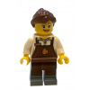 LEGO cty580 - LEGO CITY Square Barista minifigura barna kötényben, szemüvegben