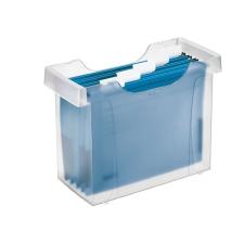 """Leitz Függőmappa tároló, műanyag, 5 db függőmappával, LEITZ """"Plus"""", áttetsző irodai kellék"""