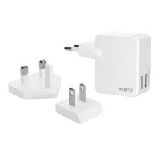"""Leitz Hálózati  töltőfej, átalakítóval, 2 x USB, univerzális, 12W, LEITZ """"Complete"""", fehér egyéb hálózati eszköz"""