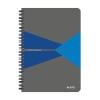 """Leitz """"Office"""" 90 lap A5 szürke-kék PP borító vonalas spirálfüzet"""