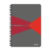 """Leitz """"Office"""" 90 lap A5 szürke-piros laminált karton borító vonalas spirálfüzet"""