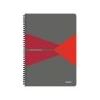 Leitz Spirálfüzet, A4, kockás, 90 lap, laminált karton borító, LEITZ Office, szürke-piros