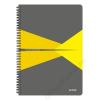 """Leitz Spirálfüzet, A4, kockás, 90 lap, PP borító, LEITZ """"Office"""", szürke-sárga (E44950015)"""
