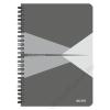 """Leitz Spirálfüzet, A5, kockás, 90 lap, laminált karton borító, LEITZ """"Office"""", szürke (E44580085)"""