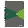 """Leitz Spirálfüzet, A5, kockás, 90 lap, laminált karton borító, LEITZ """"Office"""", szürke-zöld"""