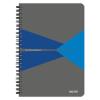 """Leitz Spirálfüzet, A5, vonalas, 90 lap, PP borító, LEITZ """"Office"""", szürke-kék"""