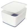 """Leitz Tároló doboz, fedővel, nagy, LEITZ """"MyBox"""", fehér-szürke"""
