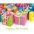 Leykam Alpina (BSB) BSB ajándékkísérő (6,5x8 cm) Happy Birthday, színes ajándékdobozok (állvány)