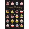 Leykam Alpina (BSB) BSB képeslap, Happy Birthday, fekete, muffinok (állvány)