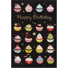 Leykam Alpina (BSB) BSB képeslap, Happy Birthday, fekete, muffinok (állvány) képeslap