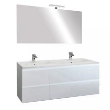 Leziter Cube Fürdőszobabútor 120 cm kerámia mosdóval tükörrel 60x120 cm magasfényű festett fehér bútor