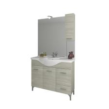 Leziter Vanessa Fürdőszobabútor 105 cm kerámia mosdóval (3 ajtós,1 fiokos),oldalszekrényes tükör LED világítással szürke tölgy bútor