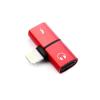 Lightning elosztó adapter egyidőben történő töltéshez és zenehallgatáshoz - piros