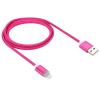 Lightning USB2.0 kábel LED-es állapotjelzéssel 1.0m, rózsaszín