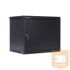 Linkbasic fali rack szekrény 19'' 9U 600x450mm fekete, acél ajtó