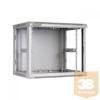 Linkbasic fali rack szekrény 19'' 9U 600x450mm szürke, acél ajtó
