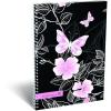 LizzyCard Füzet spirál A/5 kockás Cornell 36 Pink Butterfly 17374636