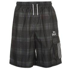 Lonsdale férfi rövidnadrág - Lonsdale 2 Stripe Check Shorts Mens Black