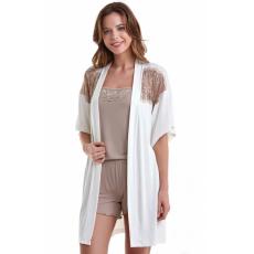 Luisa Moretti A női bambusz pizsama BELINDA és fürdőköpeny S Krém szín / Cream