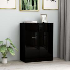 Magasfényű fekete forgácslap tálalószekrény 60 x 30 x 75 cm bútor