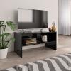 Magasfényű fekete forgácslap TV-szekrény 80 x 40 x 40 cm