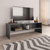 Magasfényű szürke forgácslap TV-szekrény 120 x 40 x 40 cm