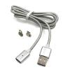 Mágneses USB kábel Android és iPhone 1.2m, ezüst