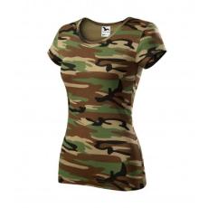 Malfini Camouflage dámske maskáčové tričko, brown, 150g/m2