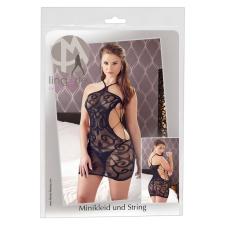 Mandy Mystery - csavart mintás hálós necc ruha tangával (fekete) body