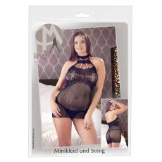 Mandy Mystery - rácsos nyakpántos necc ruha tangával (fekete)