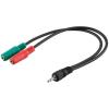 MANHATTAN audio sztereó kábel / adapter 1 x jack 3.5mm 4-pin --> 2 x jack 3.5mm