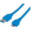 MANHATTAN USB 3.0 kábel, USB  - micro USB , 2 m, MANHATTAN, kék