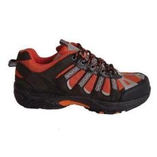 Manutan bőr túra félcipő acél orrbetéttel, fekete/narancssárga, méret: 41