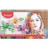 """MAPED Akvarell ceruza készlet, ecsettel, fém doboz, MAPED """"Artists"""", 36 különböző szín"""