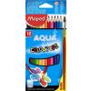 """MAPED Akvarell ceruza készlet, háromszögletű, ecsettel, MAPED """"Color\´Peps"""", 12 különböző szín"""