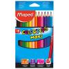 MAPED Color`Peps Maxi színes ceruza készlet, háromszögletű, vastag, 12 különböző szín