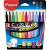 """MAPED """"Filctoll készlet, 1-3,6 mm, kimosható, MAPED """"""""Color`Peps"""""""", 12 különböző szín"""""""