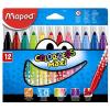 """MAPED Filctoll készlet, 1-6 mm, kimosható, vastag, MAPED """"Color\´Peps Maxi"""", 12 különböző szín"""