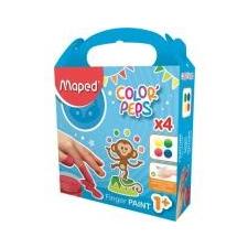 MAPED Ujjfesték, alap színek, 4x80 g, MAPED [4 db] ecset, festék