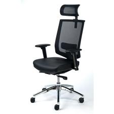 """MAYAH Exkluzív fejtámaszos irodai szék, fekete bőrborítás, feszített hálós háttámla, alumínium lábkereszt, MAYAH """"Maxy"""" forgószék"""